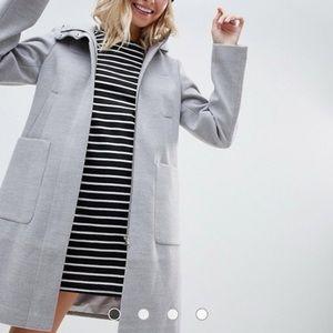 ASOS DESIGN zip through coat with hood